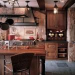 cocinas rusticas piedra y madera
