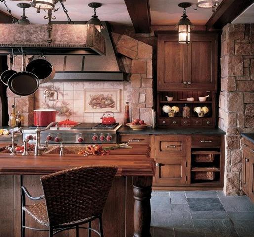 Cocinas rusticas piedra y madera - Cocinas de obra modernas ...