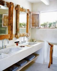 baños rusticos blancos con madera